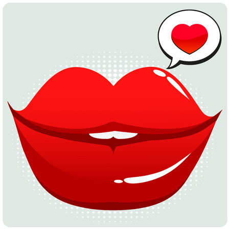 lady in red: Female lips with speech bubble and a heart. A sexy female mouth talking.