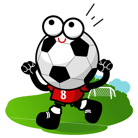 soccer field: Soccer ball character running and cheering on the football field. Illustration