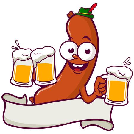 Cartoon Sausage serving beer 일러스트