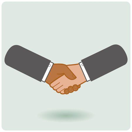 african american handshake: Black  white businessmen handshake icon