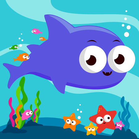 swimming underwater: A shark, colorful fish and starfish swimming underwater Illustration