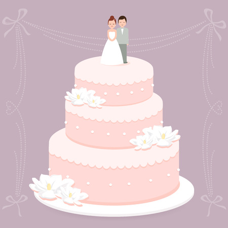 bride and groom illustration: Wedding cake
