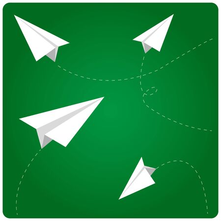 studying classroom: Paper airplanes flying in classroom