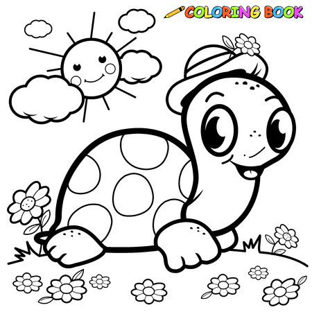 Black and white outline image of a cartoon turtle in the grass