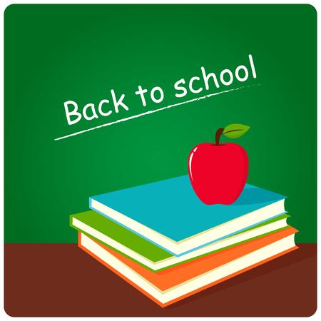 green board: Green board, books and apple in classroom .