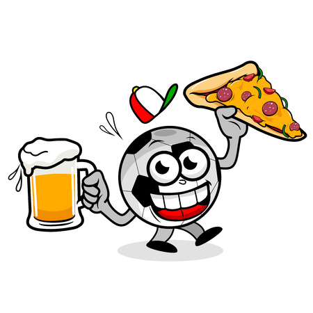 Cartoon soccer ball holding a cold beer and a pizza slice Иллюстрация