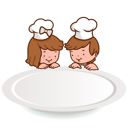 looking over: Children chef looking over a blank plate