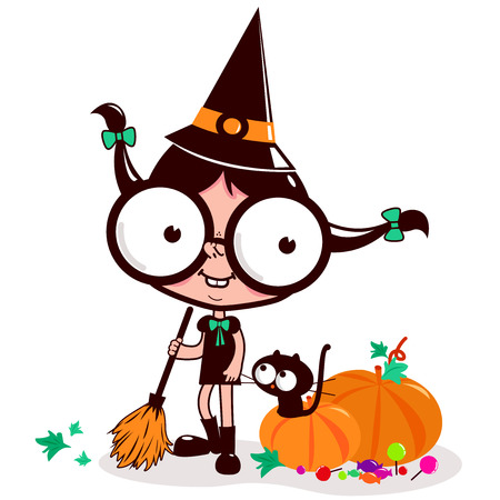 Halloween witch sweeping pumpkin leaves Illustration
