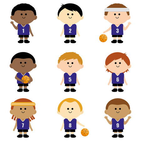 teammates: Children basketball team Illustration