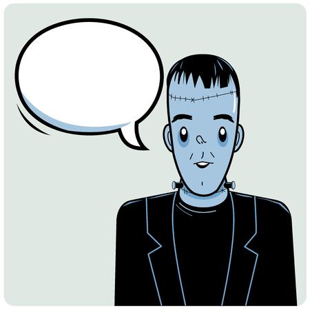 bubble speech: Halloween monster and speech bubble