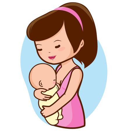 amamantando: Bebé de amamantamiento de la madre Vectores