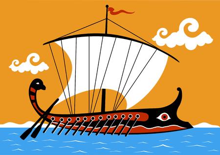 Ancient Greek trireme ship sailing on the sea Illustration