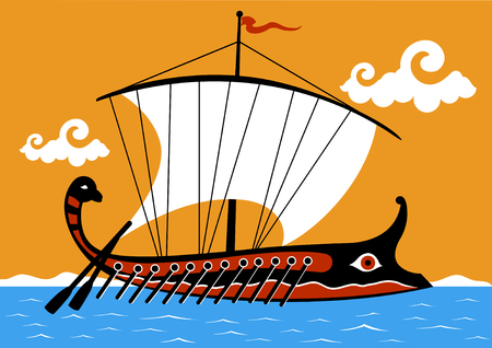 Ancient Greek trireme ship sailing on the sea Ilustracja
