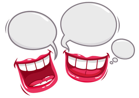 Dwa usta mówienia i śmieje
