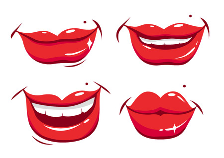 cartoon kiss: Smiling female lips