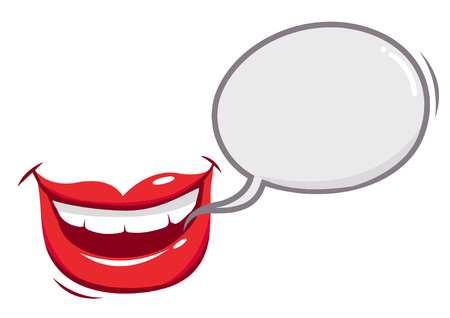 Mouth talking with a speech bubble Stock Illustratie