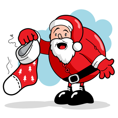 smelly: Santa Claus holding a dirty and smelly Christmas stocking
