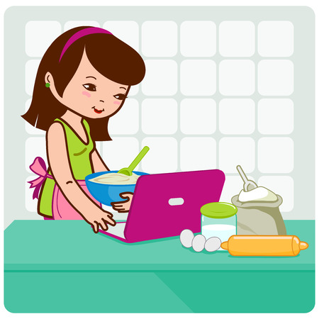 woman searching: Woman in her kitchen in front of her computer cooking and searching for recipes on the internet