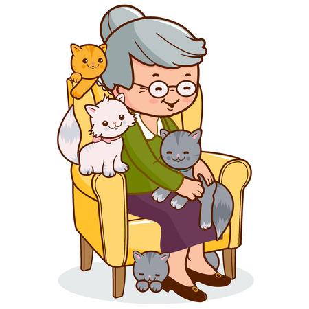 senhora: Velha sentada na poltrona com os gatos. Ilustração