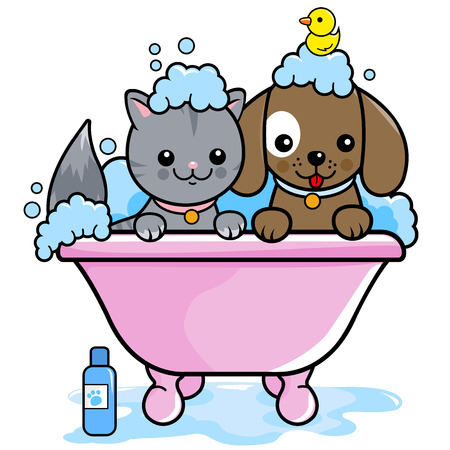 Dog and a cat in a tub taking a bubble bath.