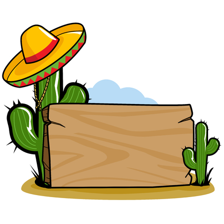 Wooden sign board in the Mexican desert with cactus plants and a sombrero. Ilustração
