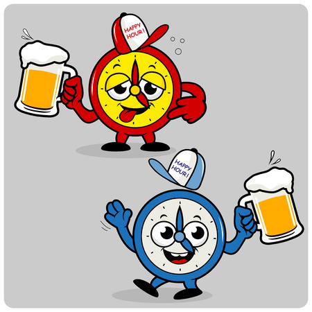drunk party: Drunk cartoon alarm clocks drinking beer