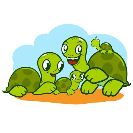 happy family: A happy family of turtles.