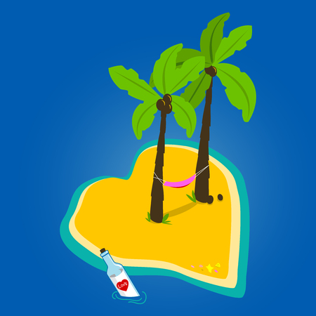 Heart shaped deserted island with palm trees and a hammock