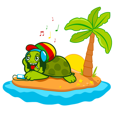 sea turtle: Sea turtle with dreadlocks relaxing while listening to music in a beautiful island