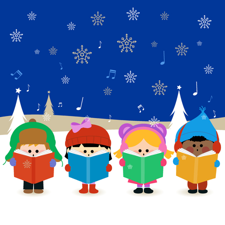 girl singing: Group of children singing Christmas carols Illustration