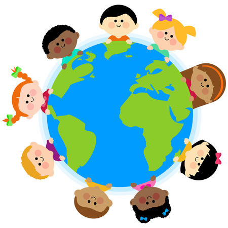 Multi ethnic group of kids around the earth