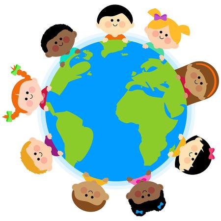 planeta tierra feliz: Multi grupo étnico de los niños alrededor de la tierra