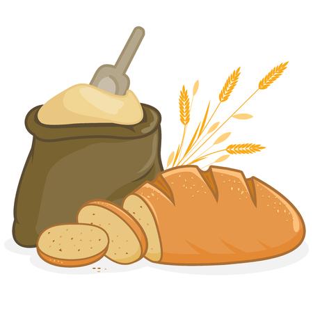 flour: Saco de harina y pan