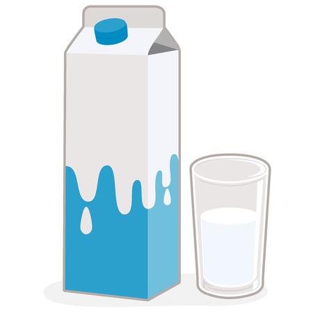 verre de lait: Carton de lait et un verre de lait Illustration