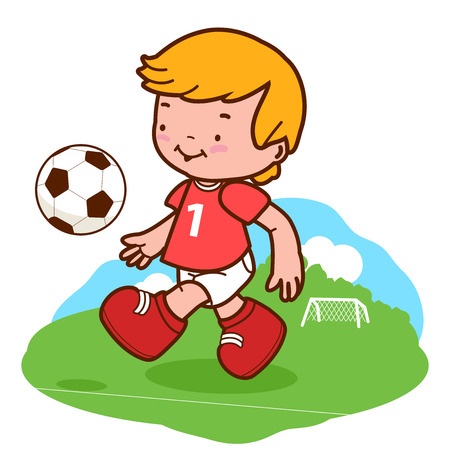 child boy: Little boy playing soccer. A happy child plays football Illustration