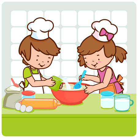 cooking utensils: Children cooking in the kitchen Illustration