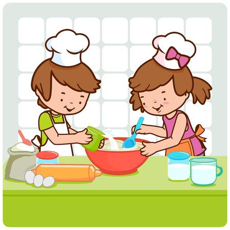 niños cocinando: Los niños que cocinan en la cocina