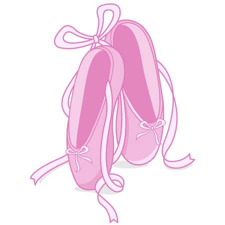 Vector illustration of a pair of pink ballet shoes.