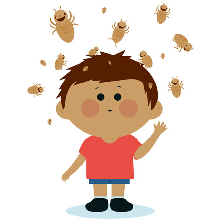 Vector Illustration of a boy with lice on his head. Stock Illustratie