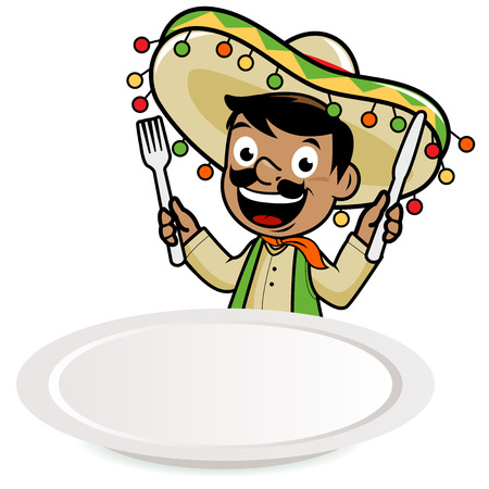 mexican food plate: Mexican mariachi man looking over an empty plate, waiting for food