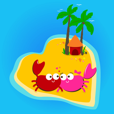 heart shaped: Crabs walking on the beach in a beautiful heart shaped island.