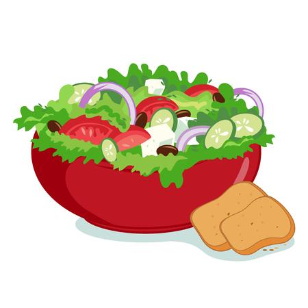 ensalada de verduras: Bol de ensalada griega con aceite de oliva y las verduras frescas servido con pan. Vectores
