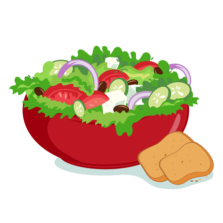 salads: Bowl of Greek salad with olive oil and fresh vegetables served with bread.