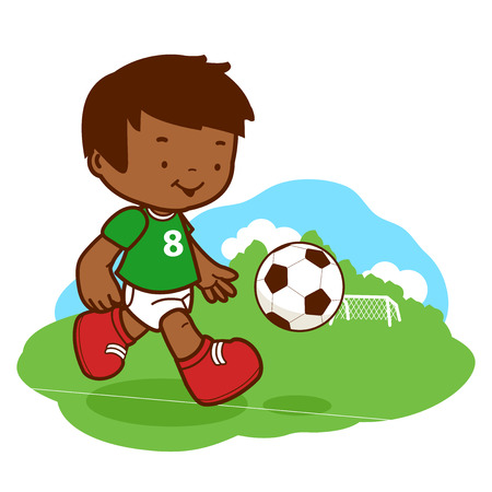 playing soccer: African boy playing soccer