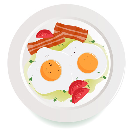 food dish: Bacon, eggs and tomato dish