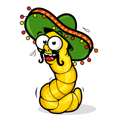 Cartoon tequila worm wearing a sombrero. Illustration