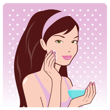 woman face cream: Woman applying moisturizing cream on her face Illustration