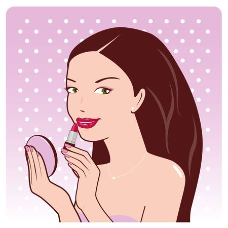 putting lipstick: Vector illustration of a beautiful young woman putting on her lipstick Illustration