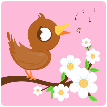 birdsong: Vector illustration of a cute bird singing on a tree branch full of flowers. Illustration