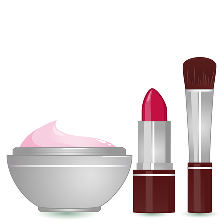 blush: Vector Illustration of  a lipstick, a blush brush and a container of moisturizing cream. Illustration